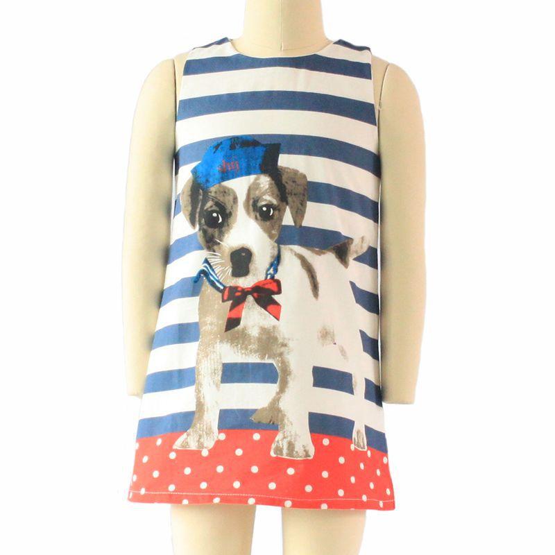 Cherished elephant puppy summer style 100% cotton animal pattern straight vest baby girl clothes kids dress(China (Mainland))