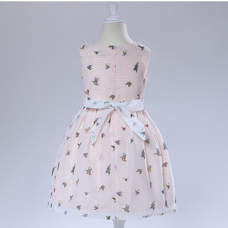 Nimble New Summer Baby Girls Dress little Bird Print Casual Kids Holiday Dress
