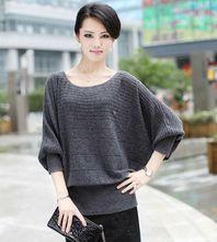 New 2015 women's bat loose sweater cashmere basic shirt plus size fashion pullover O-neck sweaters S M L XL XXL XXXL WM-D60(China (Mainland))