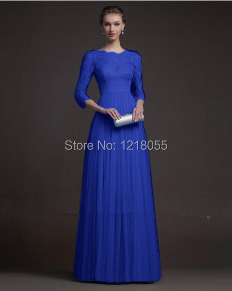 Brand New Royal Blue 3/4 Sleeve A-Line Sweetheart 2014 Long Evening Dress Lace Floor length Mother Bride Dresses - IDONFRESS store
