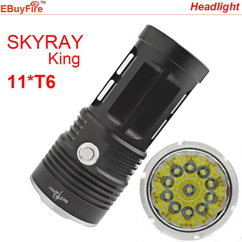 SKYRAY ULTRA Bright 11T6 CREE led flashlight 18650 11 x XML T6 LED waterproof recharger Torch Camp Lamp Light Hunting Hiking(China (Mainland))