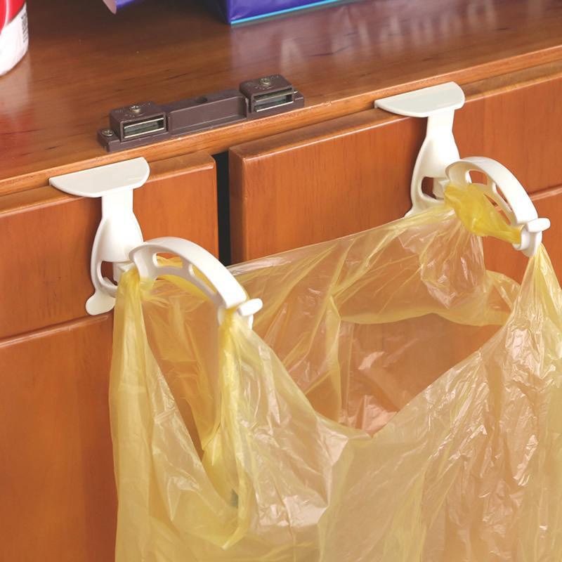 1pair Kitchen Cabinet Trash Garbage Bags Hanger Hooks Cupboard Door Garbage Bag Hanging Rack Storage Bags Hook Holder QB876917(China (Mainland))