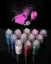 12 Color Metal Glitter Nail Art Tool Kit  Powder Dust gem Polish Nail Tools#FM031
