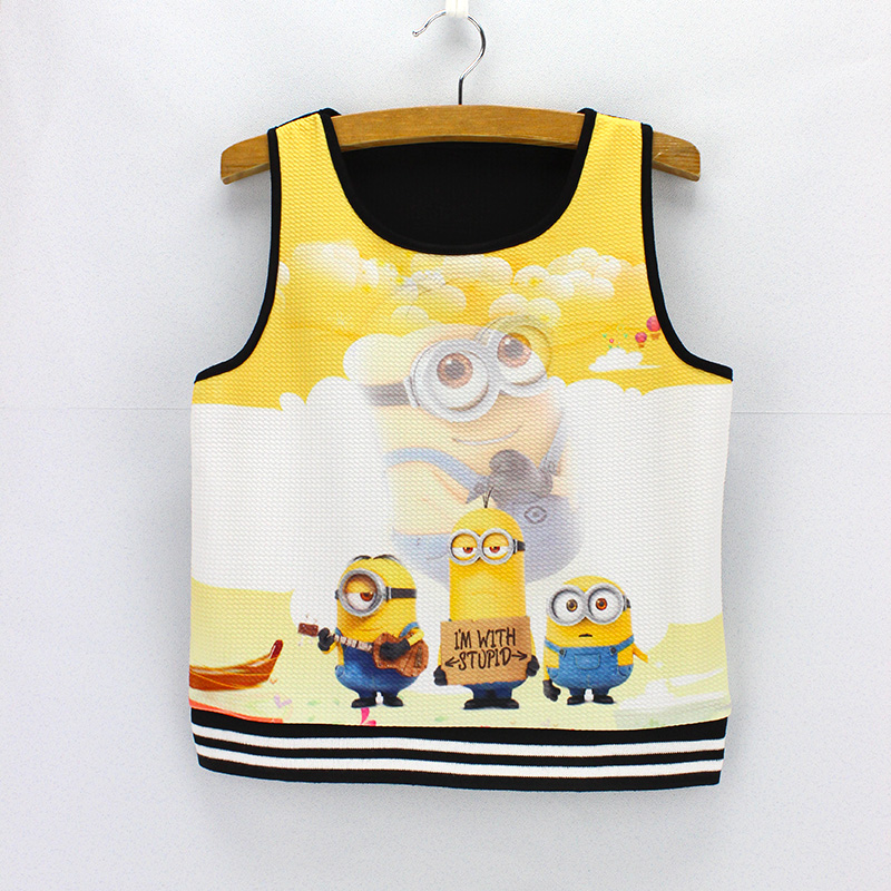 Novelty cartoon printing crop tops American & European fashion women's cropped tanks 2016 new arrival summer dresses wholesale(China (Mainland))