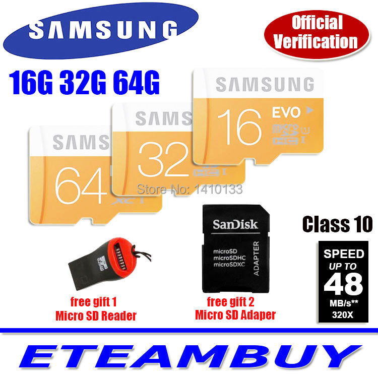 2015 100% Genuine Samsung EVO micro SD SDHC TF Class 10 C10 microsd 64gb 32gb 16gb up to 48mb/s Support Official Verification(China (Mainland))