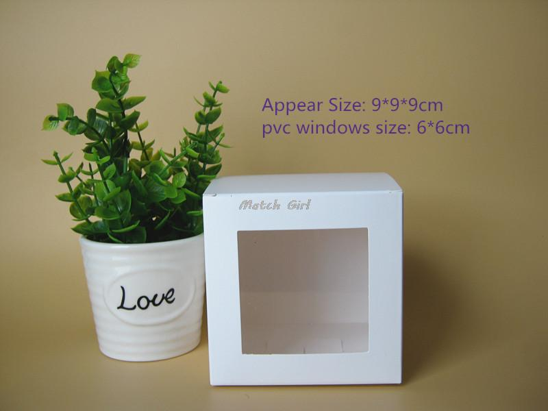 20pcs/lot-9*9*9cm White Paper Gift Box with PVC window For packing/protecting gift toys luxury gift box toy storage box(China (Mainland))