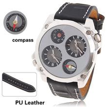 Oulm 1139 reloj militar del ejército de doble movt de dos zonas de tiempo de tiempo de cuarzo brújula termómetro envío gratis