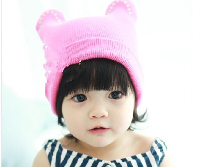 New Hot Fashion Bull horn head cap/hat/children winter hat baby cute snowman cap children's cap Free Shipping HA043(China (Mainland))
