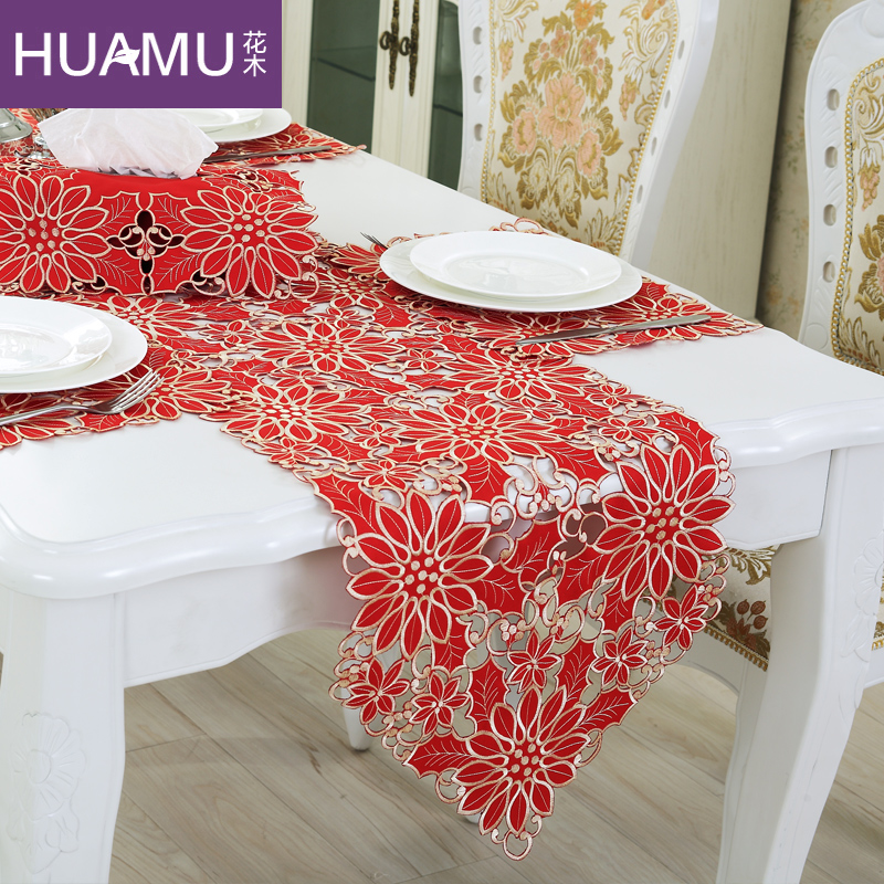 Table runner embroidery European elegant tablecloth Organza FABRIC embroidered rustic table runners wedding decoration cover(China (Mainland))