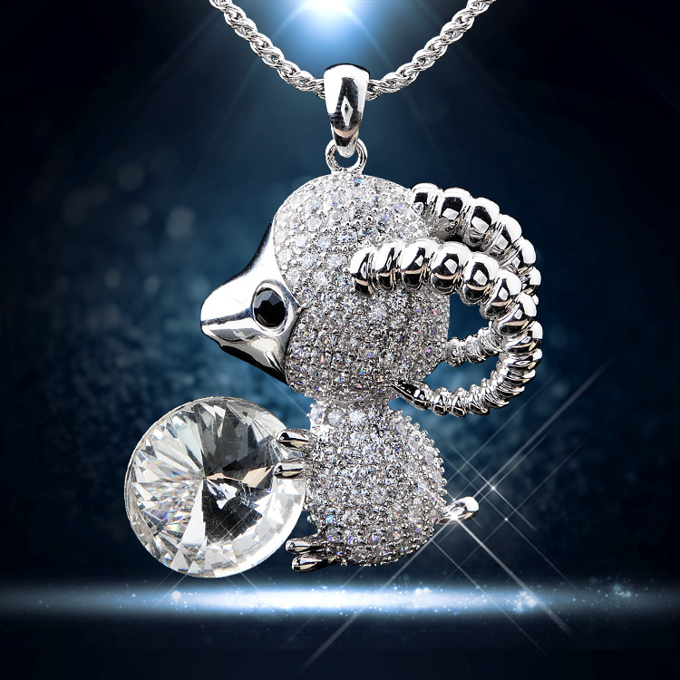 cheap Little sheep zircon necklace chain of clavicle Platinum plating aaa zircon product marketing Brazil(China (Mainland))