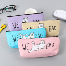 Buy High Capacity Canvas Pencil Case Cute Kawaii Cat Pencil Bag Pencil Box Office School Supplies Stationery Gift Free for $1.08 in AliExpress store