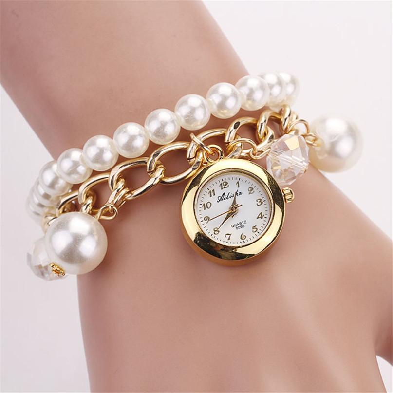 Modern Women Artificial Simulation Pearl Diamonds Gold Bracelet Watch Quartz Wristwatches Jul09(China (Mainland))