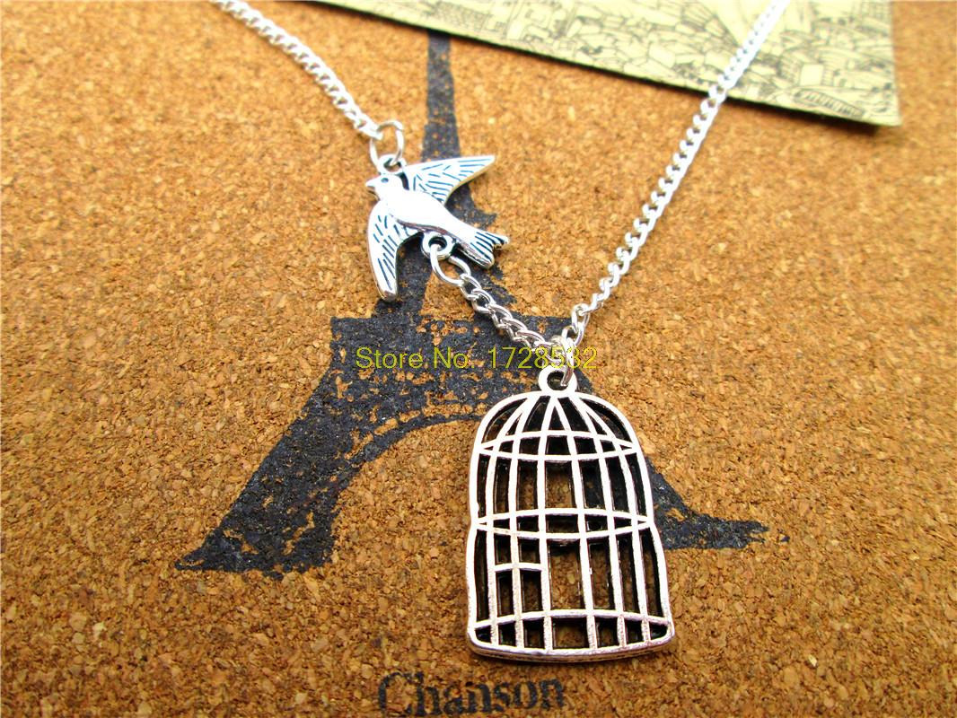 Graduation Necklace, Be Free Bird Necklace, Cage pendant, Bird Pendant Necklace, Silver Bird Cage Necklace(China (Mainland))