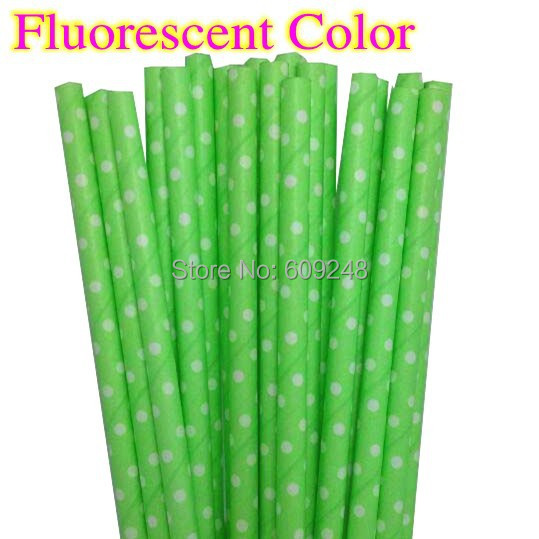 100pcs Mixed Colors Old Fashioned Decorative Cute Party White Swiss Dot Printed Fluorescent Color Lime Green Paper Straws(China (Mainland))