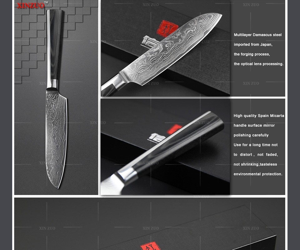 "Buy XINZUO 5"" inch santoku knife Japan chef knife 73 layers Damascus steel kitchen knife double forge Micarta handle FREE SHIPPING cheap"
