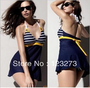 Swimwear female swimwear navy style one-piece dress hot spring swimwear plus size swimwear M L XL XXL XXXL