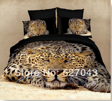 Leopard 3D Oil Painting Print Full/Queen Size Bedding Sets/ComforterCovers/Bed sets/Duvet Covers/Bedclothes,PDN-17 - A-ONE Home Textile store