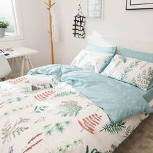 Svetanya Leaves Print Sheet Pillowcase and Duvet Cover Sets 100% Cotton Bedlinen Twin Double Queen King Size Bedding Set(China)