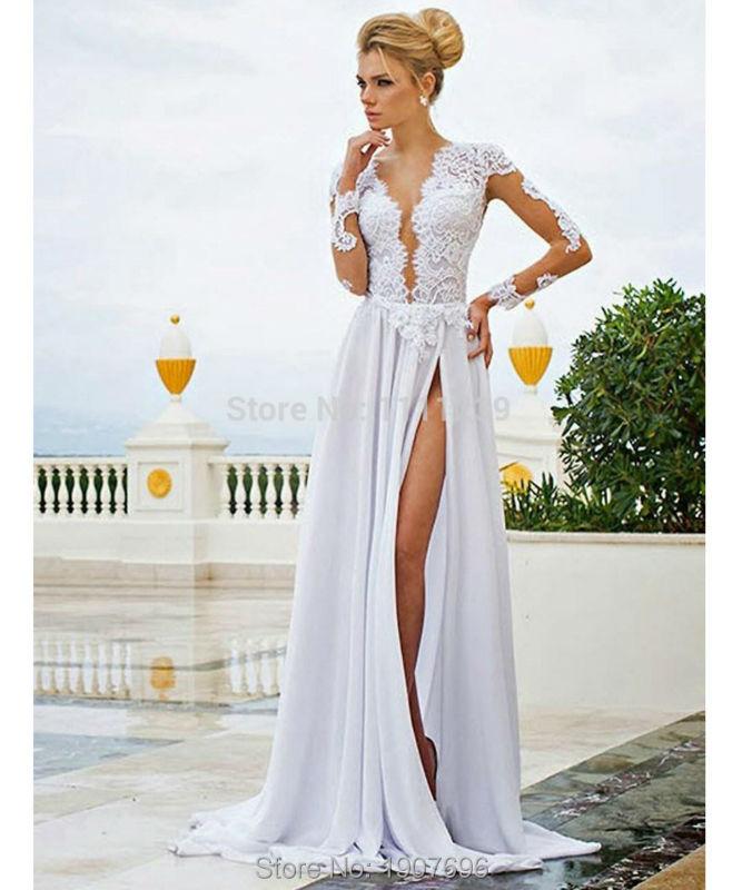 Plunging neckline dress plus size dress ideas for Plunge neck wedding dress
