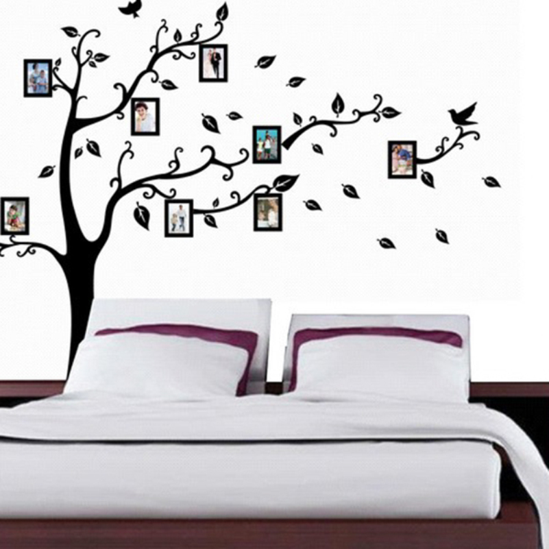 Photo and Tree Wall Sticker Home Decor DIY Art Removable Birds and Butterflies Sticker for Living Room Mural Vinyl Wall Posters(China (Mainland))
