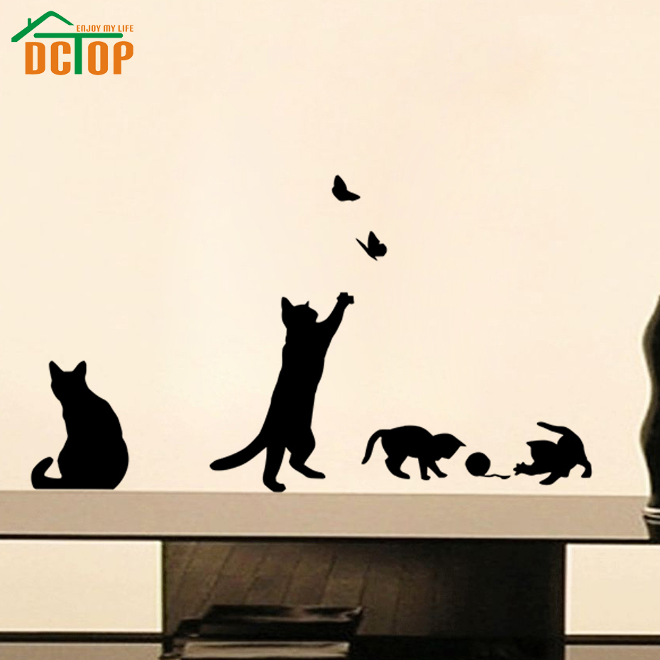 DCTOP Playing Ball Cats Wall Stickers Butterflies Adhesive Stickers Home Decor Vinyl Wall Decals(China (Mainland))