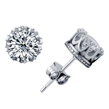 NEW 2014 Imperial Crown Silver Earrings With CZ 925 sterling silver Fashion Stud Earrings Wedding Jewelry