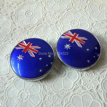 100pcs 60mm Australia flag Wheel Hub Center Caps full chromed emblem Covers   Free shipping(China (Mainland))