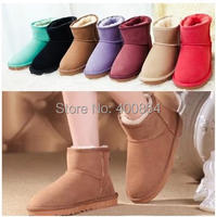 2014 Women Ankle boots Warm Short Plush Lady Shoes Winter Thicken Nubuck Leather Plus Size Snow Boots 13 colors Free Shipping