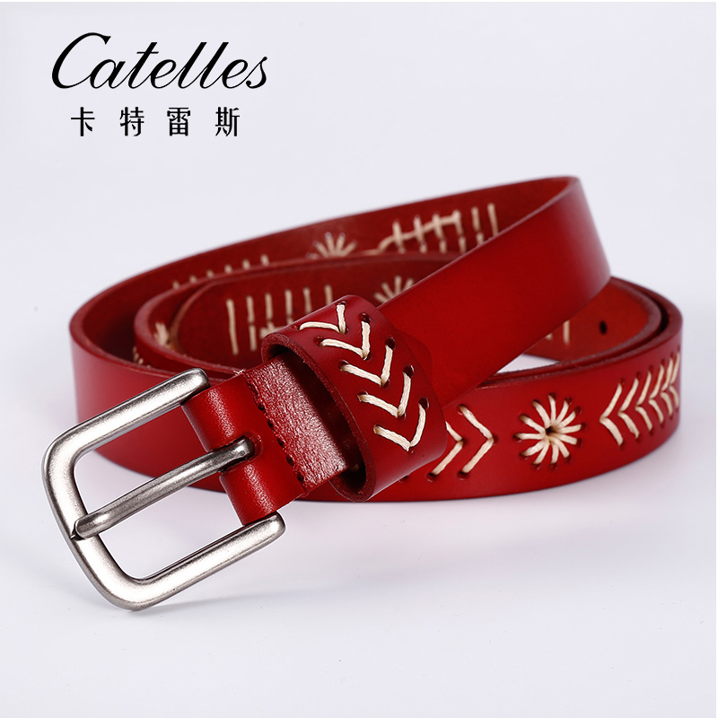 CATELLES 2016 ladies belt Women genuine leather casual all-match belt threading fashion brand soft belt Fashion Accessories(China (Mainland))