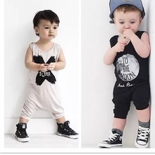 2016 Baby Boy Rompers Summer Baby Gril Clothing Sets Infantis Newborn Bebes Clothes Short sleeveless Baby Boy Clothes(China (Mainland))