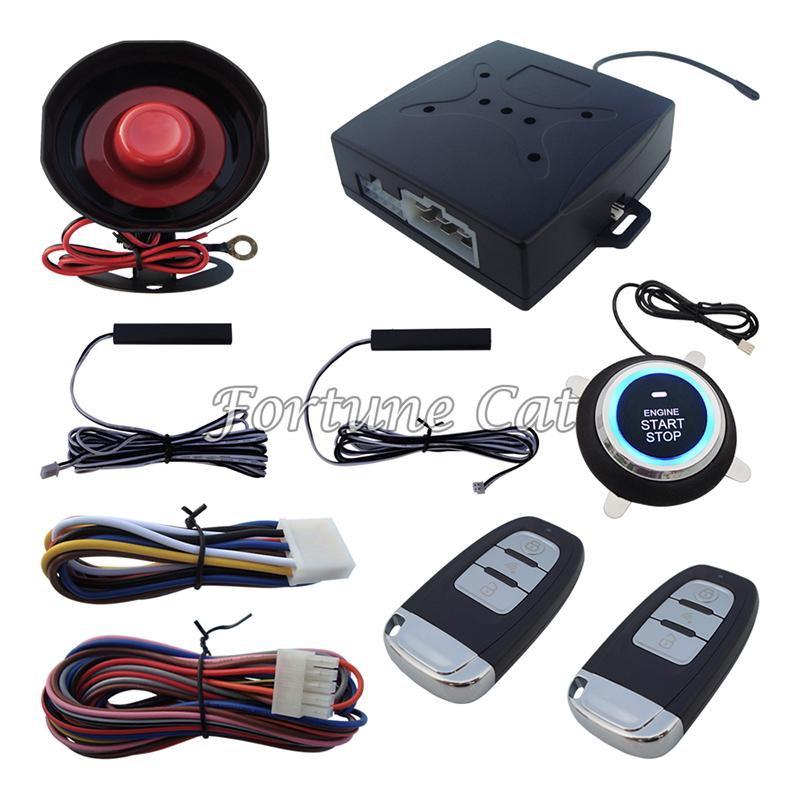 Stock In USA! Smart PKE Passive Keyless Entry Car Alarm System Remote Engine Start Push Start Button Auto Lock Unlock(China (Mainland))