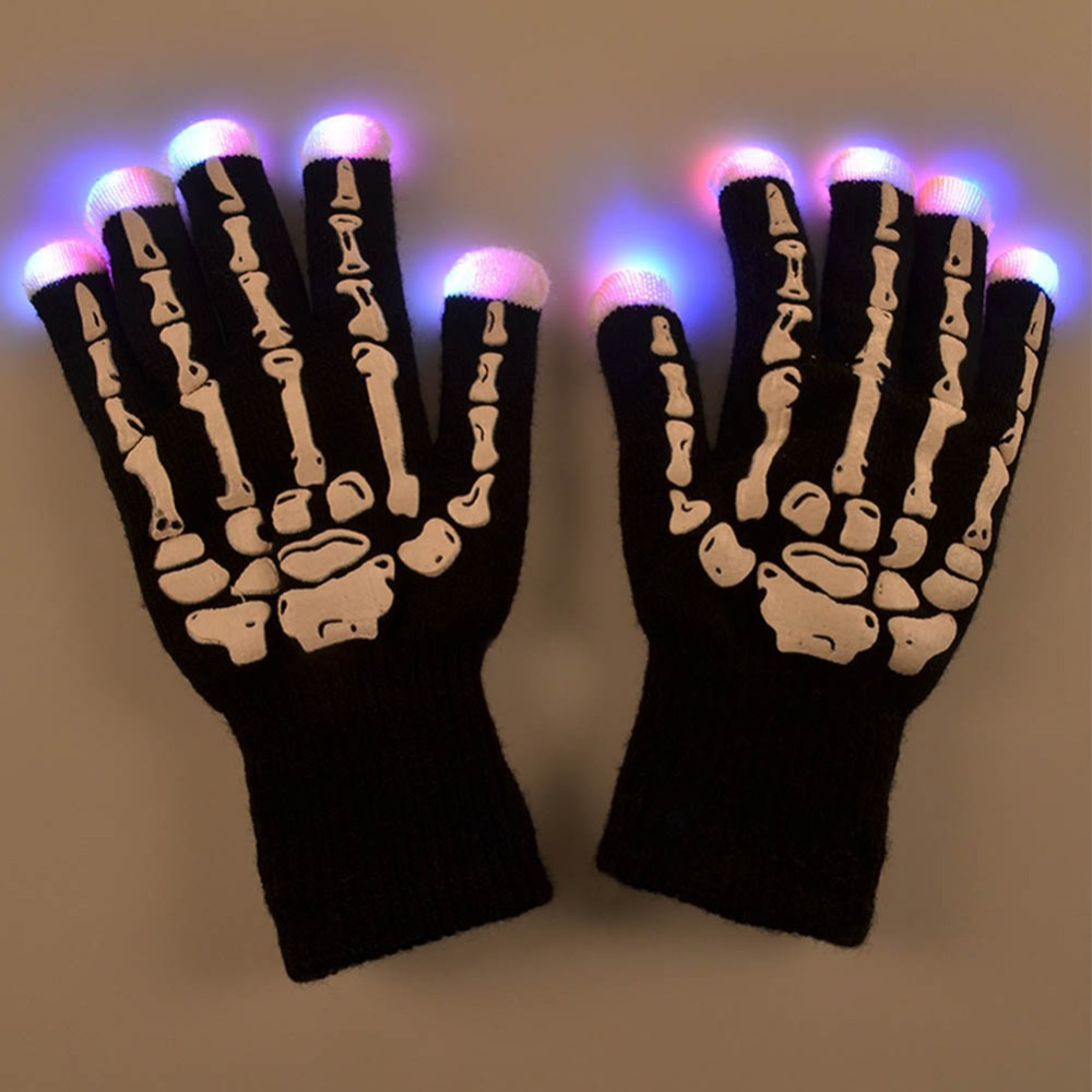 Fashion Women Men Flash Gloves LED Skeleton Gloves Light Up Flashing Finger Lighting Glow Hip-Hop Style(China (Mainland))