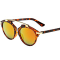 OUTEYE Summer Gafas Oversized Flat Sunglasses Women Ladies Metal Mercury Reflective Sun glasses Eyewear oculos de