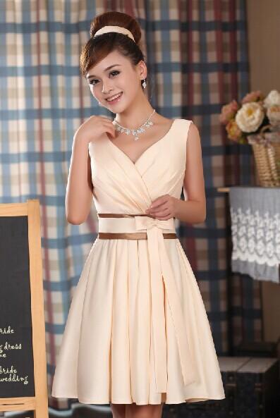 2015 new Fashion champagne color V-neck Women's Short design Elegant Party dresses Plus size Vestidos Prom Dress(China (Mainland))