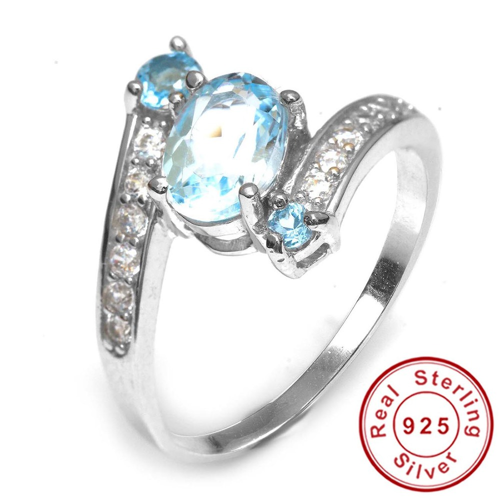 Promotion 2.48ct Natural Sky Blue Topaz Ring Real Pure Solid 925 Sterling Silver Oval Women Party Fine Jewelry 2015 Brand New<br><br>Aliexpress