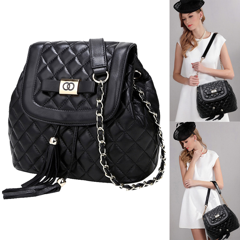 New Diamond Lattice Genuine Leather Women bag Fashion European Ladies Shoulder Crossbody Bucket Tassel Bag<br><br>Aliexpress