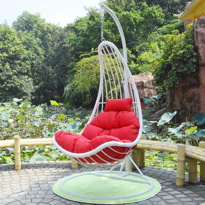 American basket wicker chair swing hanging rocking leisure for Balcony hammock