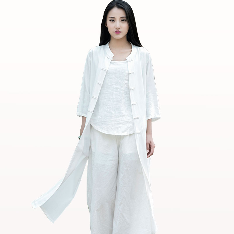 Chinese Style Women Summer Cotton And Linen Vintage Casual Long Shirt Tops Lady Loose Flax Sun Protection Blouse(China (Mainland))