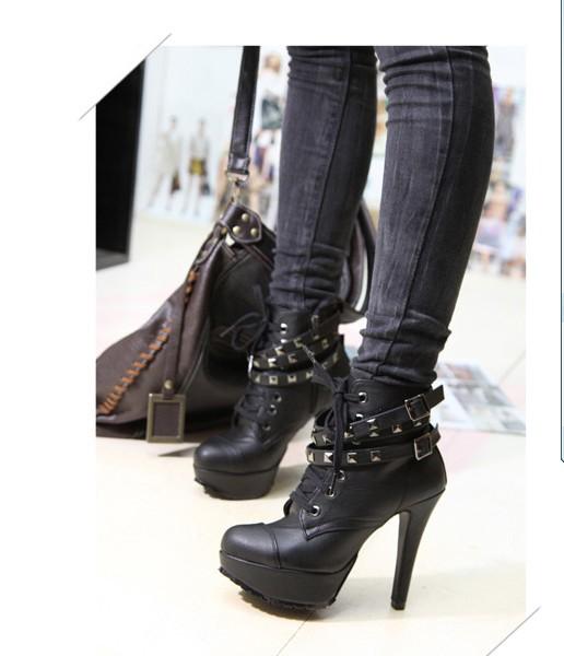 faux leather platform studded belt shoes high heel