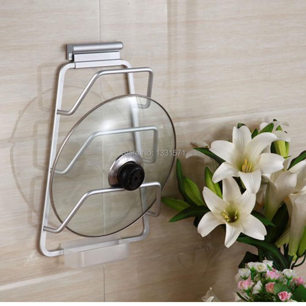 New Aluminum Kitchen Cabinet Door Pot Pan Lid Holder Wall Mounted Rack Organizer Storage Space Saver(China (Mainland))
