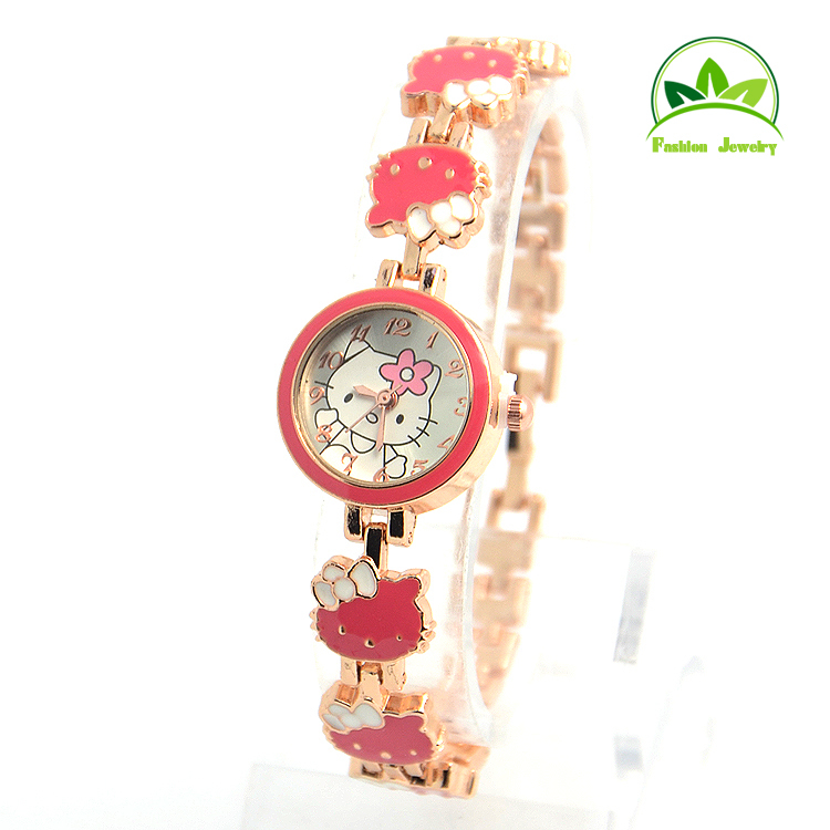 Wholesale Gogoey Brand Hello Kitty Crystal Fashion Children Women Lady Quartz Watch Wristwatches GO085(China (Mainland))