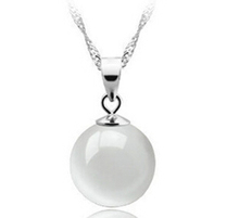 Lose money promotion high quality round opal stone 925 sterling silver ladies`pendant necklaces jewelry gift