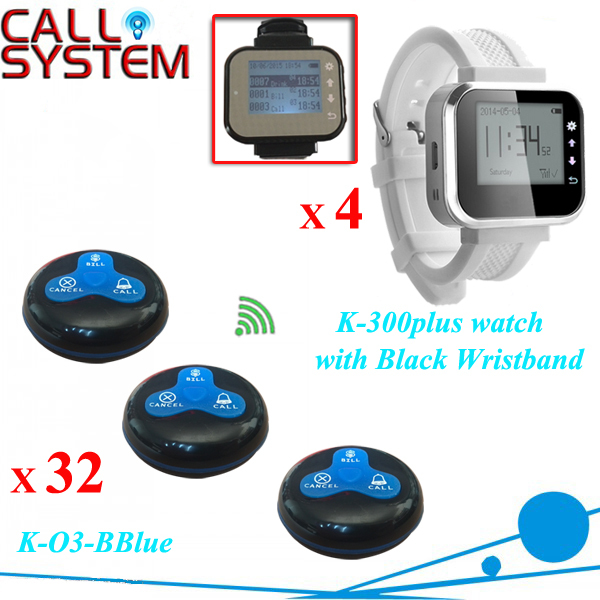 Wireless service calling system for restaurant table paging system 32 pcs bell and 4pcs wrist watch(China (Mainland))