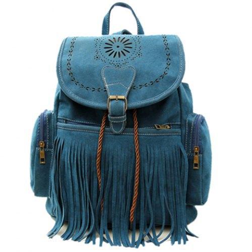 Tassel Bag 2015 Women Backpack Bag Bolsa Feminina Retro Engraving and Fringe Design Women's Vintage Satchel Mochila Feminina(China (Mainland))