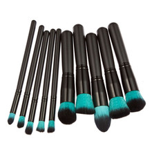 1 Set/10 Pcs New Arrival Make Up Brush Blue Synthetic Hair Black Wooden Cosmetics Tools Makeup Brushes Set