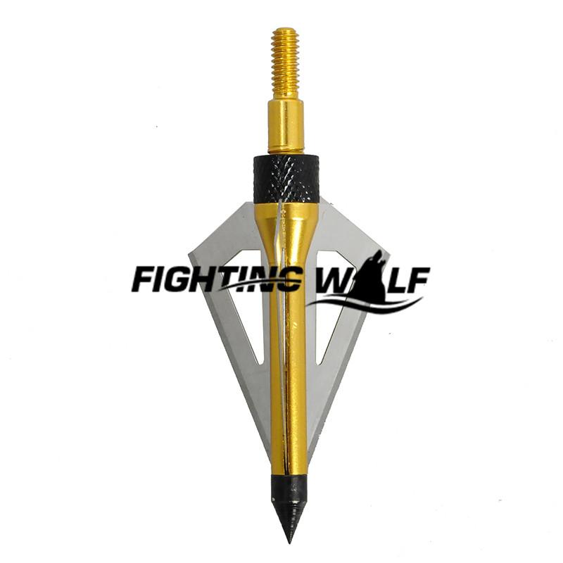12pcs lot Gold Hunting Arrowhead Aluminum Stainless Steel Broadheads 3 blades Archery Arrowhead Arrow Release for