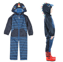 Free Shipping- kids/children/boys Dinosaur Striped Puddle Suit, water repellent, boys spring jumpsuit(MOQ: 1pc)(China (Mainland))