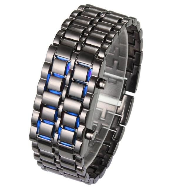 holiday sale Fashion Metal Lava Iron Samurai Men LED Digital Watch Male Watch Relogio Masculino(China (Mainland))