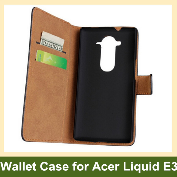 Fashion Genuine Leather Wallet Flip Cover Case for Acer Liquid E3 E380 with Card Slot Holder 10pcs/lot Free Shipping