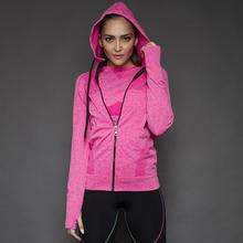 New Women Sport Jackets With Hat Femme Sport Hoodies Slim Long-Sleeve Zip-up Sweatshirt Jogging Fitness Women For Gym Running(China (Mainland))